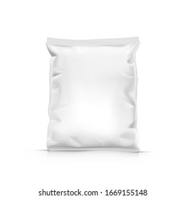 White Stand Up Sealed Empty Transparent Plastic Bag Package. EPS10 Vector