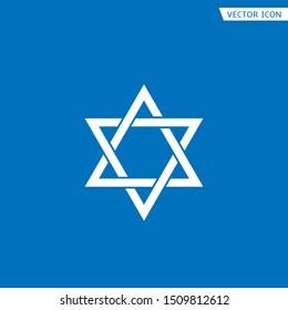 White Star of David icon. Generally recognized symbol of modern Jewish identity and Judaism, Israel symbol