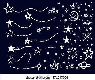 White star doodle on black. Abstract hand drawn scribble stars shape elements. Cartoon line marker sketch for text emphasis on chalck board background. Pen graphic and highlight sketch graffiti style