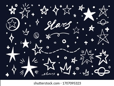 White star doodle on blue black sky. Abstract hand drawn scribble stars shape elements. Cartoon line marker sketch for text emphasis on chalck board background. Pen graphic highlight graffiti sketch