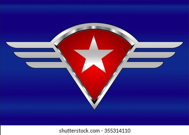 white star on the winged shield. star and wings. star, shield and stripes. white star, red shield and silver stripes over the glowing blue background. Wings with the star and stripes. Patriotic wings.