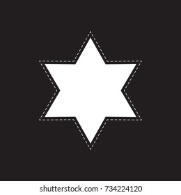 white star six-pointed with a dashed outline. Star of David with a dotted line. black background. black and white vector illustration.