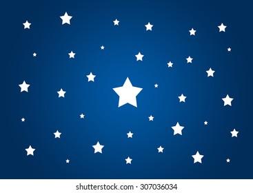 White stars on blue night sky background