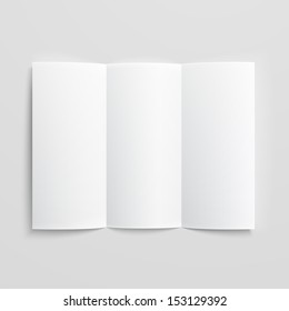 White stationery: blank trifold paper brochure on gray background with soft shadows and highlights. Vector illustration. EPS10.