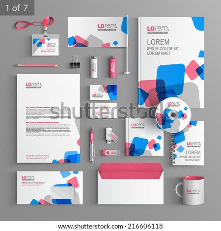 white stationery template design blue red stock vector royalty free