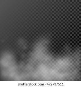 White steamy haze on transparent  background. Vector evaporating fume