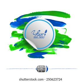 White sticker on watercolor blue-green background