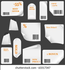 white sticker set with bar codes. vector illustration