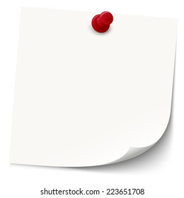 white sticky note with red pin needle