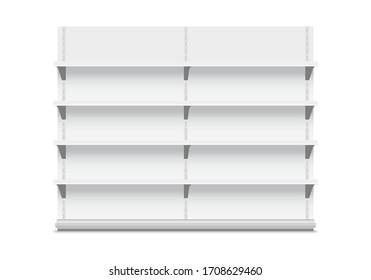White store shelves on white. Stock Vector illustration