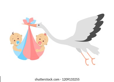 White stork flying with newborn baby twins girl and boy. Child birth announcement. Greeting card for baby born celebration. Isolated flat vector illustration