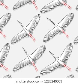 White Stork pattern. Vector big flying bird texture. Modern cloth fabric print. 2019 trendy nature wallpaper. Natural fauna element decoration