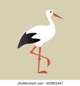 White stork - vector graphic