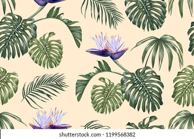 White strelitzia and tropical leaves. Seamless vector pattern.