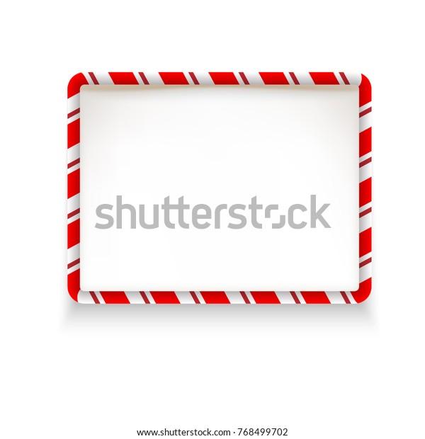 White Stripe Christmas Frame Design Element Stock Vector