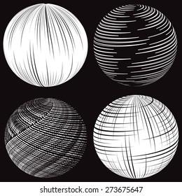 White striped spheres on black background. Set.
