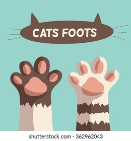 white stripes kitten paws. isolated on brown background, simple cartoon flat style, vector illustration art.