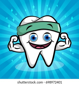 White strong tooth cartoon and has big muscles. Dental illustration for kids.