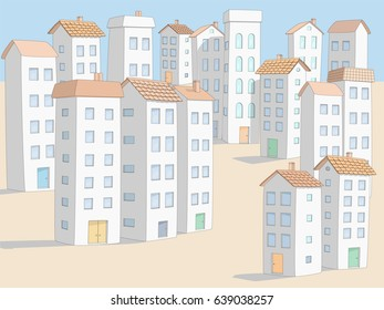 White Stucco Mediterranean Village with Tall Houses and Hotel