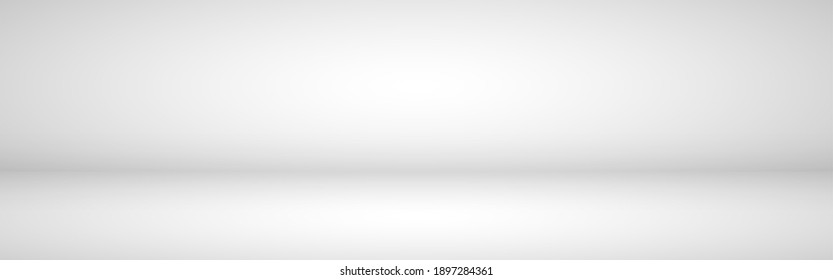 White studio background. Empty light room. White template for advertising. Clean design for displaying product. Gray neutral mockup. Vector illustration.