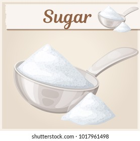 White sugar in metallic spoon. Cartoon vector icon. Series of food and ingredients for cooking
