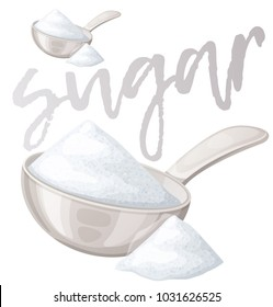 White sugar in metallic spoon. Cartoon vector icon isolated on white backround