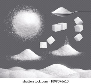 White sugar set with piles and cubes realistic transparent isolated vector illustration