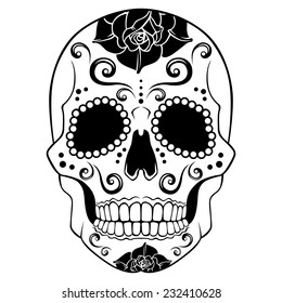 White Sugar Skull with floral ornament