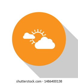 White Sun and cloud weather icon isolated on white background. Orange circle button. Vector Illustration