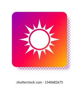 White Sun icon isolated on white background. Square color button. Vector Illustration