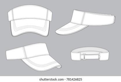 White Sun Visor Caps for Template