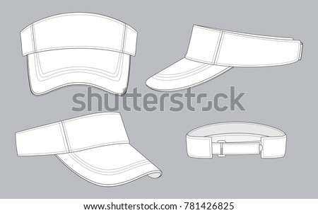 White Sun Visor Caps Template Stock Vector (Royalty Free) 781426825 ... d1f110805fbc