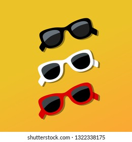 84a36fbbb5 White sunglasses with shadow. Vector illustration in flat style.