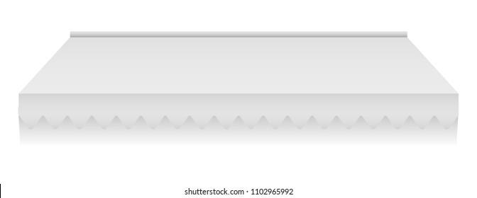 White sunshade mockup. Realistic illustration of white sunshade vector mockup for web design isolated on white background