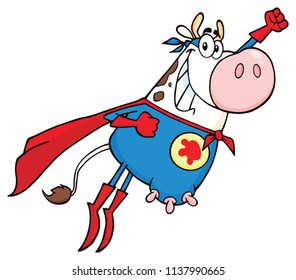 White Super Hero Cow Cartoon Mascot Character Flying. Vector Illustration Isolated On White Background