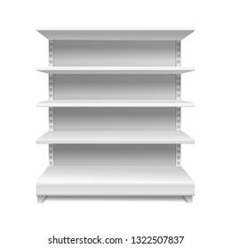 White supermarket shelves. Retail rack shop shelving blank shelves empty showcase store bookcase isolated vector 3d mockup