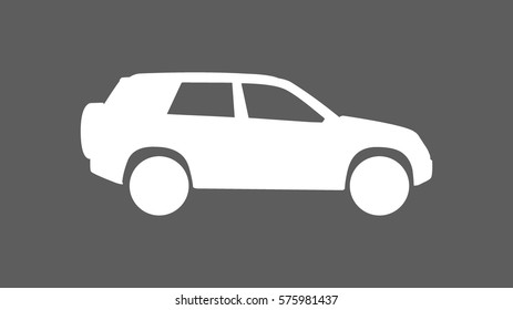 white SUV car icon heading right direction viewed from side with flat dark grey 16:9 wide screen ratio