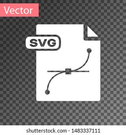 White SVG file document. Download svg button icon isolated on transparent background. SVG file symbol.  Vector Illustration