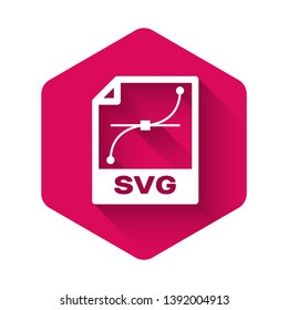 White SVG file document icon. Download svg button icon isolated with long shadow. SVG file symbol. Pink hexagon button. Vector Illustration