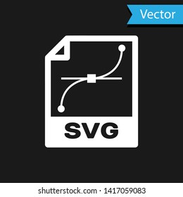 White SVG file document icon. Download svg button icon isolated on black background. SVG file symbol. Vector Illustration
