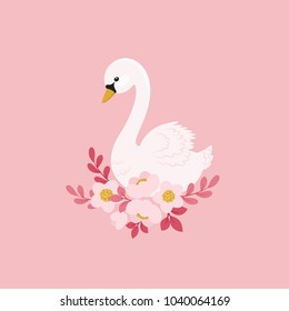 White swan and beautiful flowers. Fairy tale concept. Vector illustration
