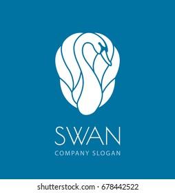 white swan logo sign emblem on blue background vector illustration