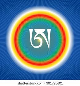 White syllable A on blue background. Tibetan letter A. Dzogchen symbol. Buddhism.