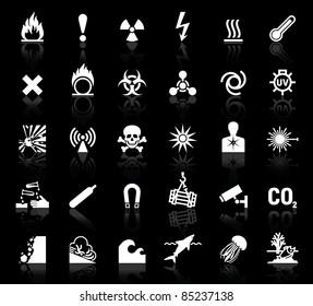 white symbols danger icons on black background