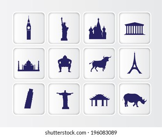 white symbols of famous tourist statues and buildings from around the world