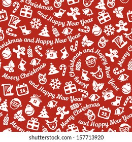 White symbols on red background. Seamless background. Merry Christmas and Happy New Year