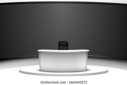 white table and lcd background in a news studio room