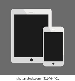 White Tablet Computer and Phone Vector Illustration