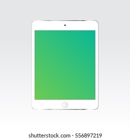 White tablet iPad with blank green screen isolated. Apple device mockup. Vector illustration