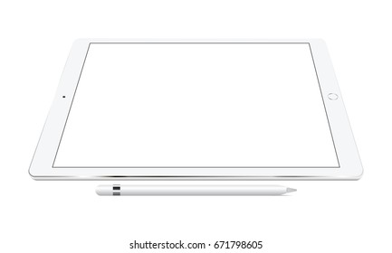White tablet iPad Pro with smart pencil perspective view isolated. Showcase your mobile web-site design screenshots on modern responsive screen. Vector illustration